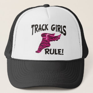 TRACK GIRLS BLACK ON HOT PINK TRUCKER HAT