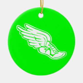 Track Logo Ornament w/name Green