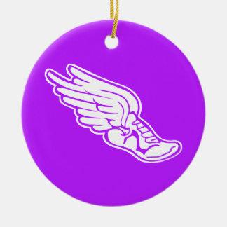 Track Logo Ornament w/name Purple