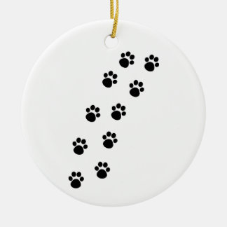Track of Cat Paw Marks Round Ceramic Decoration