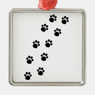 Track of Cat Paw Marks Silver-Colored Square Decoration