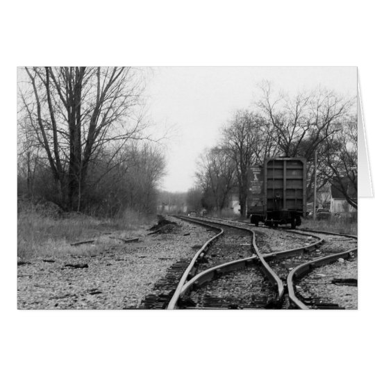 """tracks"" by Larry Coressel Card"