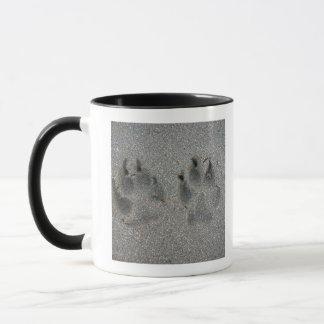 Tracks of dog in sand mug