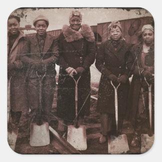 Trackwomen on Railroad WWII Square Sticker