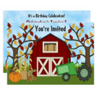 Tractor and Barn Autumn Farm Birthday Invitation