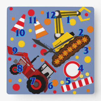 Tractor and bulldozer polka dot boy kids room square wall clock