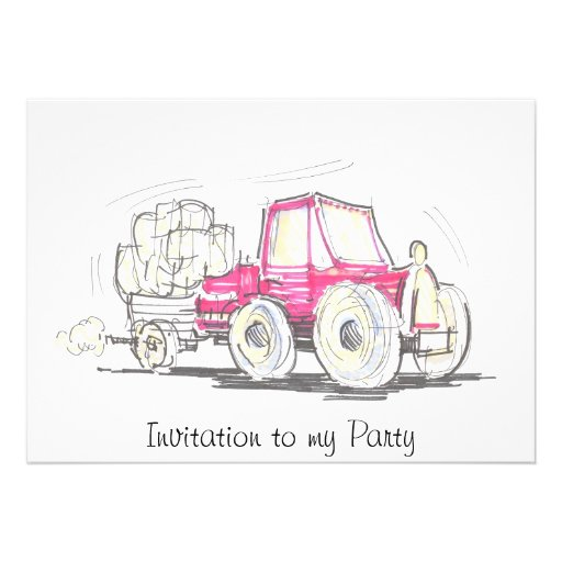 Tractor and Trailer Invitation to my Party
