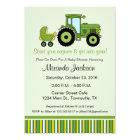 Tractor Baby Shower Invitation green