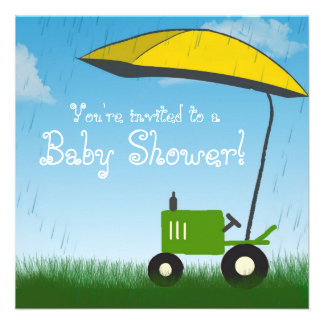Tractor Baby Shower Invitation: Green Tractor