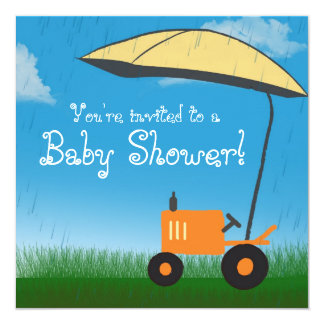 Tractor Baby Shower Invitation: Orange Tractor