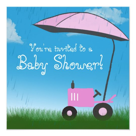 Tractor Baby Shower Invitation: Pink Tractor Card