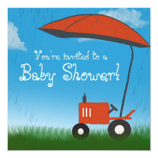 Tractor Baby Shower Invitation: Red Tractor