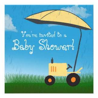 Tractor Baby Shower Invitation: Yellow Tractor