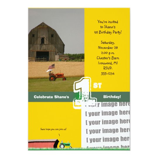 Tractor Birthday Party Invitation:  Barn & Tractor Card
