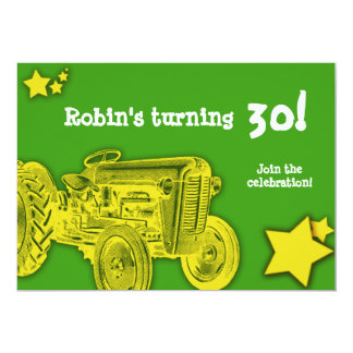 Tractor Birthday Party Invitation: Bright Yellow Card