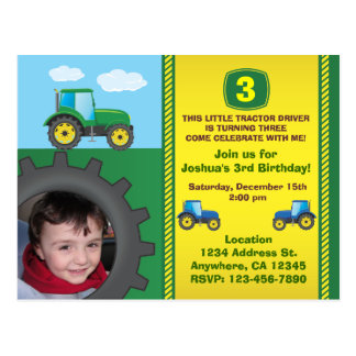 Tractor Birthday Party Invitation Postcard