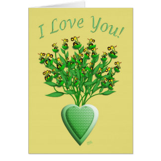 Tractor Bouquet with Green Heart Vase Card