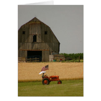 Tractor Card Tractor American Flag Barn