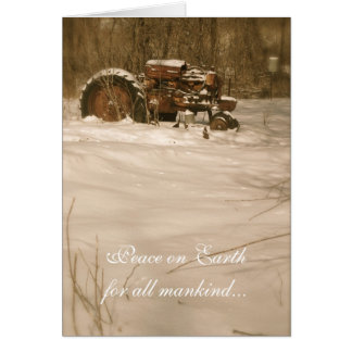 Tractor Christmas Card: Peace for all old tractors Greeting Card