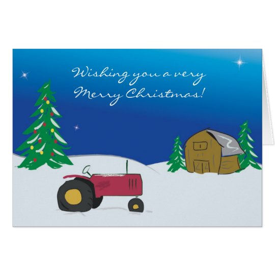 Tractor Christmas Card: Red Tractor Barn Scene Card