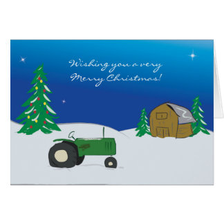 Tractor Christmas Card: Winter Barn Scene Greeting Card