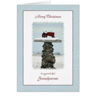 Tractor Christmas for Grandparents Greeting Card