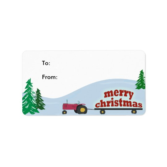 Tractor Christmas Gift Label Address Label