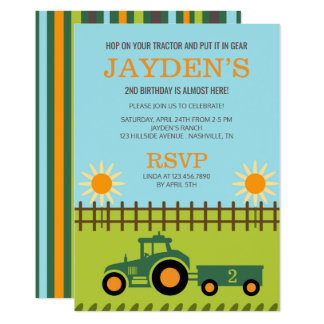 Tractor / Farm Birthday Party Invitation