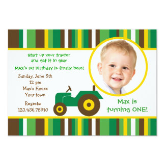 Tractor farm Photo Birthday Party Invitations