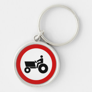 Tractor Farming Sign Silver-Colored Round Key Ring