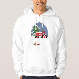 Tractor for Christmas Hooded Sweatshirt