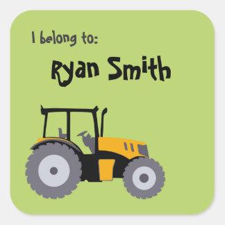 Tractor green school books sticker back to school