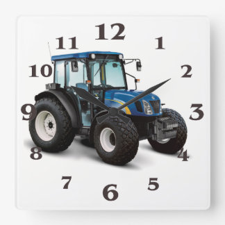 Tractor image for Square-Wall-Clock Square Wall Clock