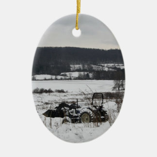 Tractor in Snow Christmas Ornament