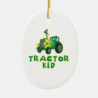 Tractor Kid, Green Ceramic Oval Decoration