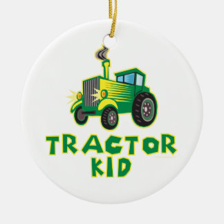 Tractor Kid, Green Christmas Ornament