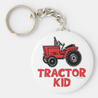 Tractor Kid Basic Round Button Key Ring