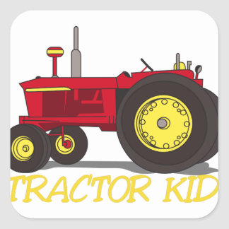 Tractor Kid Square Sticker