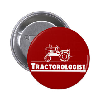Tractor Ologist RED 6 Cm Round Badge