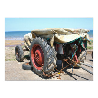 Tractor on the Beach Invitation