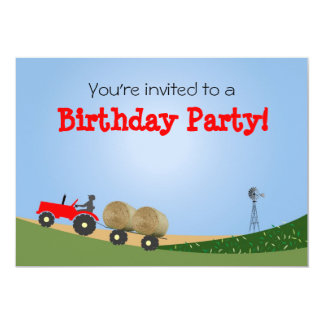 Tractor on the Farm Party Invitation: Red Tractor Card