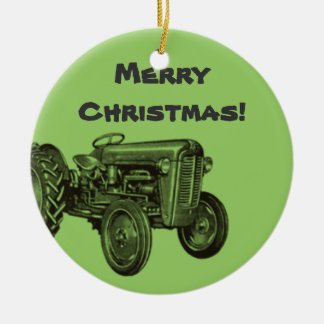 Tractor Ornament: Add Your Business Name Christmas Ornament
