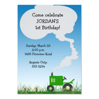 Tractor Party Invitation: Green Tractor Card