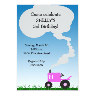 Tractor Party Invitation: Pink Tractor Card