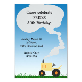 Tractor Party Invitation: Yellow Tractor Card