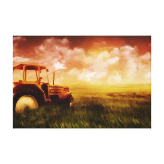 Tractor Plowing Oil Painting Print Wrapped Canvas Print