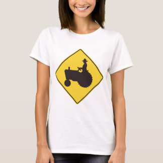 Tractor Road Sign Womens T-Shirt