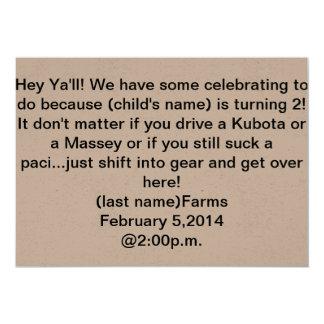 "tractor theme 2nd birthday invitation 5"" x 7"" invitation card"