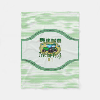 Tractor Tough 1st Birthday Fleece Blanket