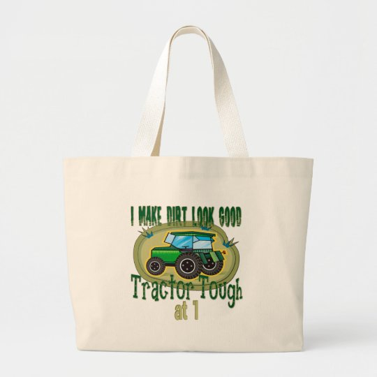 Tractor Tough 1st Birthday Large Tote Bag